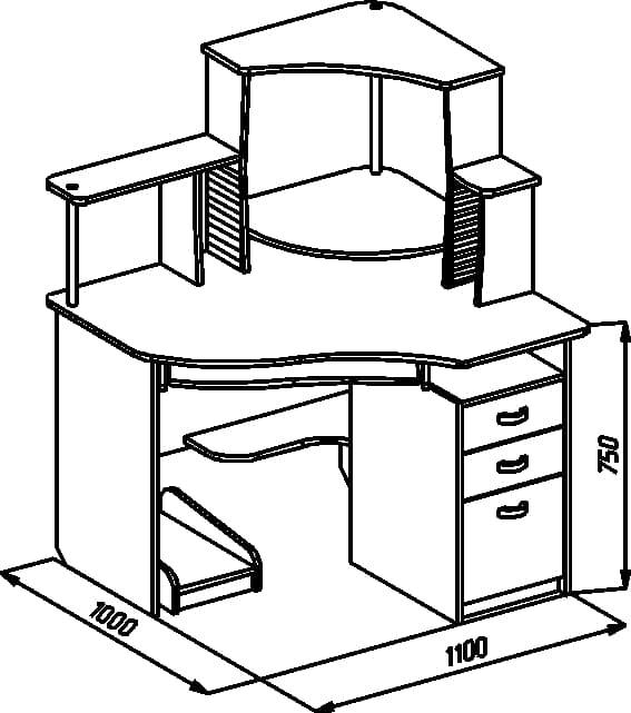 Будьте первым.  Поставьте оценку, оставьте отзыв о товаре Компьютерный стол С 215CD.