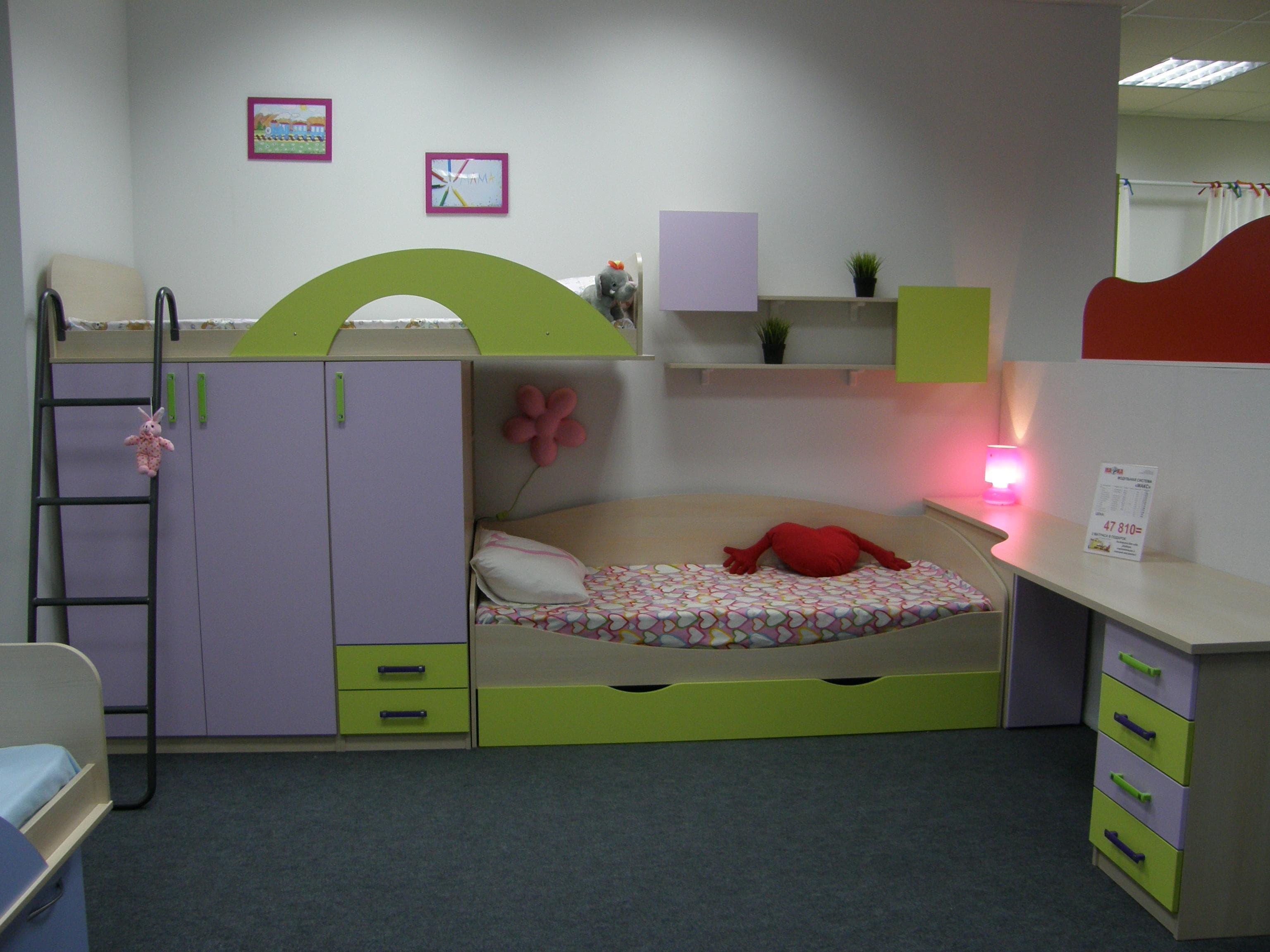 Детские двухъярусные кровати детской комнаты для разнополых детей фото